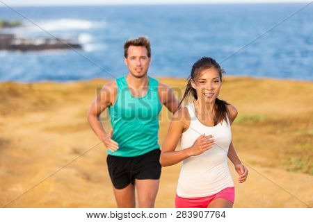 Fit run people couple jogging