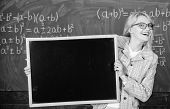 Place For School News. School Schedule And Extra Classes. Teacher Woman Hold Blackboard Blank Advert poster
