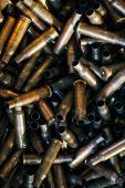 Many Empty Bullet Shells, Pile Of Used Rifle Cartridges 7.62 Mm Caliber, Assault Rifle Bullet Shell, poster