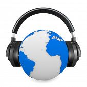Headphone and globe on white background. Isolated 3D image
