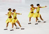 Team Rockettes, of Finland, competes in the 2011 World Synchronized Skating Championships