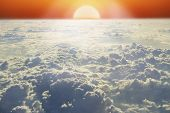 Landscape With Rising Sun Above Horizon And White Cloud. Bright Sun Above Clouds poster