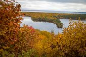 Michigan Autumn Scenic Panorama. Vibrant Autumn Color In The Northern Michigan Forest With The Vast  poster
