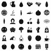 Vegetarian Cook Icons Set. Simple Style Of 36 Vegetarian Cook Icons For Web Isolated On White Backgr poster