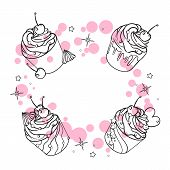 Sweet Cake. Decorated Sweetness. Dessert. Cupcake With Powder. Sweet Set poster