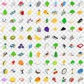 100 Vitality Icons Set In Isometric 3d Style For Any Design Illustration poster