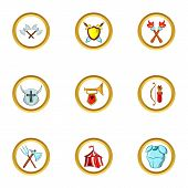 Medieval War Icon Set. Cartoon Set Of 9 Medieval War Icons For Web Isolated On White Background poster