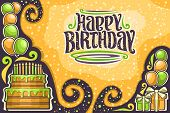 Vector Greeting Card For Happy Birthday With Copy Space, Many Yellow And Green Balloons, Delicious B poster