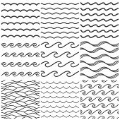 Seamless Water Waves Pattern. Sea Wave, Ocean Waters And Wavy Lake. Aqua Patterns Vector Background  poster