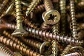 Macro Photo Of Screws. A Set Of Screws. Construction Abstraction. Industrial Background. poster