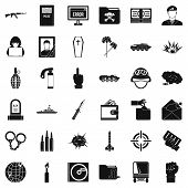 Cold War Icons Set. Simple Style Of 36 Cold War Icons For Web Isolated On White Background poster