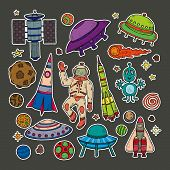 Stickers Set Of Cute Hand Drawn Space Objects: Stars, Rockets, Planets, Moon, Sun Etc. Hand-drawn Ve poster
