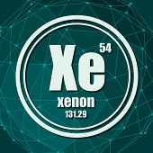 Xenon Chemical Element. Sign With Atomic Number And Atomic Weight. Chemical Element Of Periodic Tabl poster