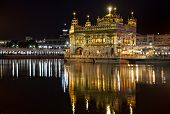 image of harmandir sahib  - Harmandir Sahib - Sikh Golden temple in Amritsar at night Punjab India