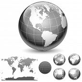 Globe and map of the world. Different views. Vector illustration.