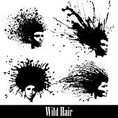4 concept silhouettes of women hair styles. Vector Illustration