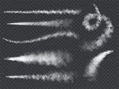 Plane Smoke Trail. Jet Trails White Airplane Smoke Takeoff Cloud Vapour Sky Contrail Rocket Condensa poster