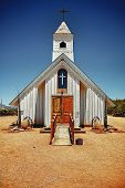 image of superstition mountains  - Small wooden rustic church located in the desert near the Superstition Mountains just outside of Phoenix - JPG