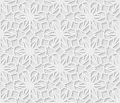 Seamless Arabic Geometric  Pattern, 3d White Pattern, Indian Ornament,  Vector. Endless Texture Can  poster