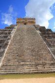Chichen Itza Mayan Kukulcan pyramid in Mexico Yucatan