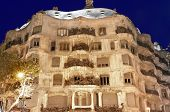 BARCELONA, SPAIN - DECEMBER 10: night view of Casa Milà better known as La Pedrera is a building de