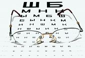 Glasses on a Eye Chart