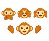 Cute Cartoon Monkey Face Emoji Icon Set. Three Wise Monkeys With Hands Covering Eyes, Ears And Mouth poster
