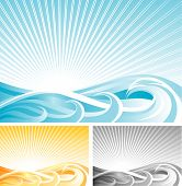 Abstract Wave Background, Vector File And Three Different Color