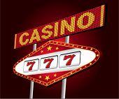 Big red neon for casino with one arm bandit