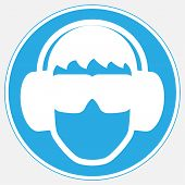 Mandatory Signs - Wear Eye And Ear Protection. Wear Eye And Ear Protection Mandatory Sign. Wear Eye  poster