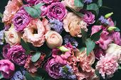 Beautiful Pink And Purple Peonies And Roses Bouquet With Eucalyptus. Closeup View. Wedding Or Birthd poster
