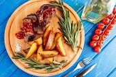 Beef Steak Meat Grilled Potato Top Down Flatlay poster