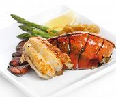 stock photo of lobster tail  - Grilled Lobster Tail Served With Asparagus And Onion - JPG