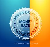 Transparent money back guarantee badge. Vector icon