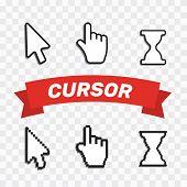 Pixel Cursors Icons Mouse Hand Arrow. Mouse Computer Cursor. Hand Arrow Web Cursor Set poster