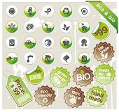 Set of eco & bio icons, stickers and tags