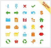 Colorful set of 29 sticker icons - part 1
