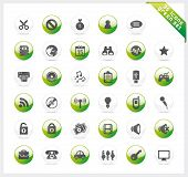 Green set of 35 shiny icons on green button