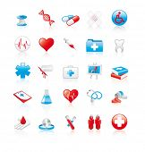 Set of 20 glossy medical icons