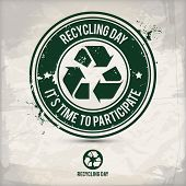Alternative Recycling Day Stamp Containing: Two Environmentally Sound Eco Motifs In Circle Frames, G poster