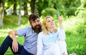 Woman Enjoy Relax Nature Background. Pure Nature. Couple With Green Leaf Relax Natural Environment.  poster