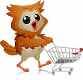 Illustration of an Owl Pushing a Shopping Cart