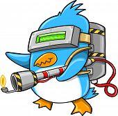 Warrior Commando Penguin Vector Illustration Art