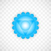 Throat Chakra Visuddha In Blue Color Isolated On Transparent Background. Isoteric Flat Icon. Geometr poster
