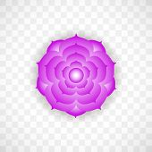 Crown Chakra Sahasrara In Violet Color On Transparent Background. Isoteric Flat Icon. Geometric Patt poster
