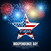 4 Th July Usa Star, Independence Day. Fireworks. Festival Colorful Firework. Vector Llustration On B poster