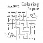 Cartoon Shark Maze Game. Vector Coloring Book Pages For Children poster