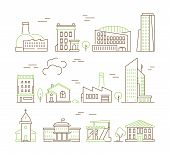 Line Art Buildings. Urban Living Houses And Villa Home Exterior Suburban Vector Colored Icon Collect poster