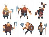 Viking Characters. Medieval Norwegian Warriors Military People Vector Cartoon Mascots. Illustration  poster