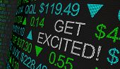 Get Excited Stock Market Excitement Ticker 3d Illustration poster